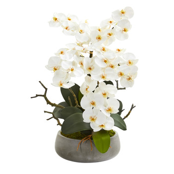 21 Phalaenopsis Orchid Artificial Arrangement in Gray Vase - SKU #A1350