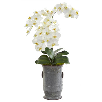 32 Phalaenopsis Orchid Artificial Arrangement in Vintage Metal Planter - SKU #A1351