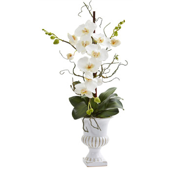 26 Single Phalaenopsis Orchid Artificial Arrangement in White Urn - SKU #A1352