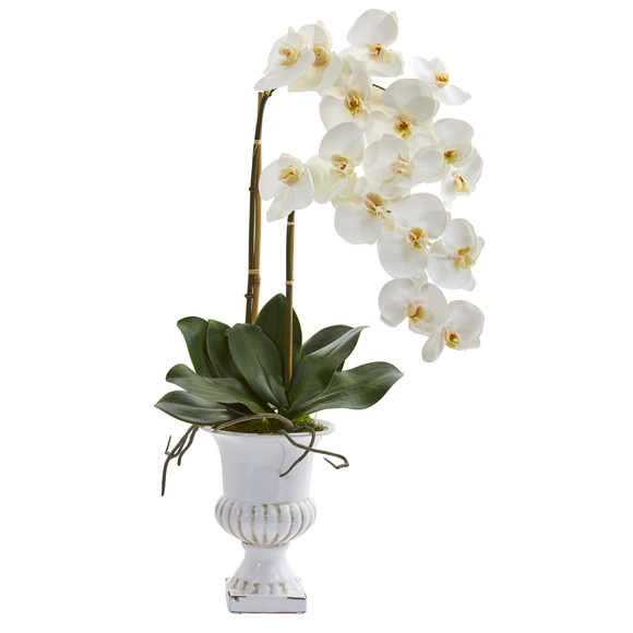 26 Double Phalaenopsis Orchid Artificial Arrangement in White Urn - SKU #A1353
