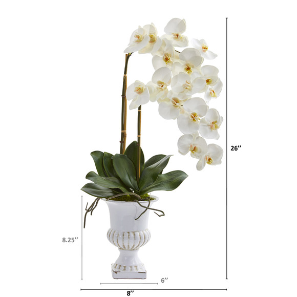 26 Double Phalaenopsis Orchid Artificial Arrangement in White Urn - SKU #A1353 - 1