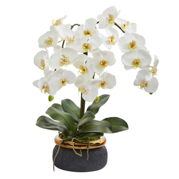 26 Triple Phalaenopsis Orchid Artificial Arrangement in Black Vase with Bronze Rim - SKU #A1354