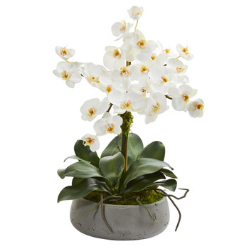 20 Phalaenopsis Orchid Artificial Arrangement in Gray Vase - SKU #A1355