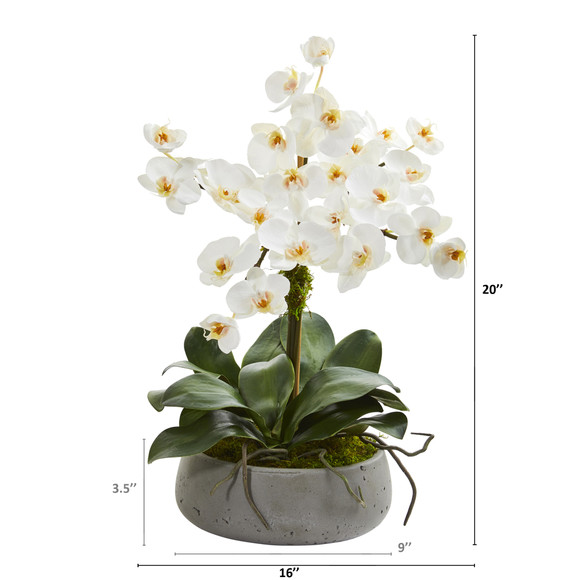 20 Phalaenopsis Orchid Artificial Arrangement in Gray Vase - SKU #A1355 - 1