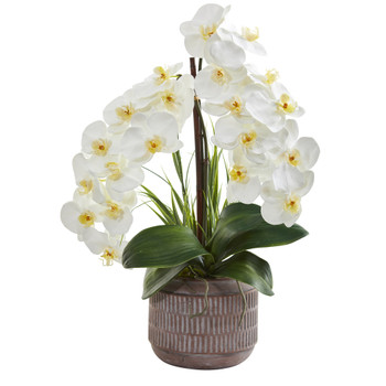 22 Phalaenopsis Orchid Artificial Arrangement in Stoneware Planter - SKU #A1356