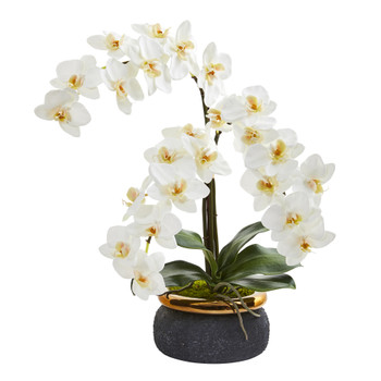 19 Triple Phalaenopsis Orchid Artificial Arrangement in Black Vase with Bronze Rim - SKU #A1357