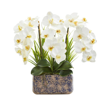 18 Triple Phalaenopsis Orchid Artificial Arrangement in Vintage Vase - SKU #A1358