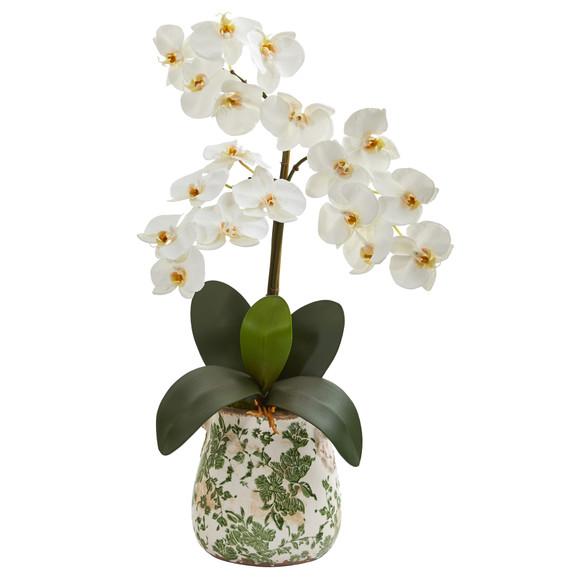23 Triple Phalaenopsis Orchid Artificial Arrangement in Floral Vase - SKU #A1359