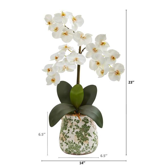 23 Triple Phalaenopsis Orchid Artificial Arrangement in Floral Vase - SKU #A1359 - 1