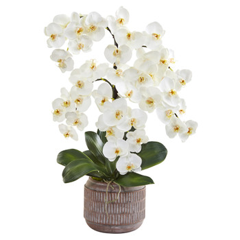 28 Phalaenopsis Orchid Artificial Arrangement in Stoneware Vase - SKU #A1360