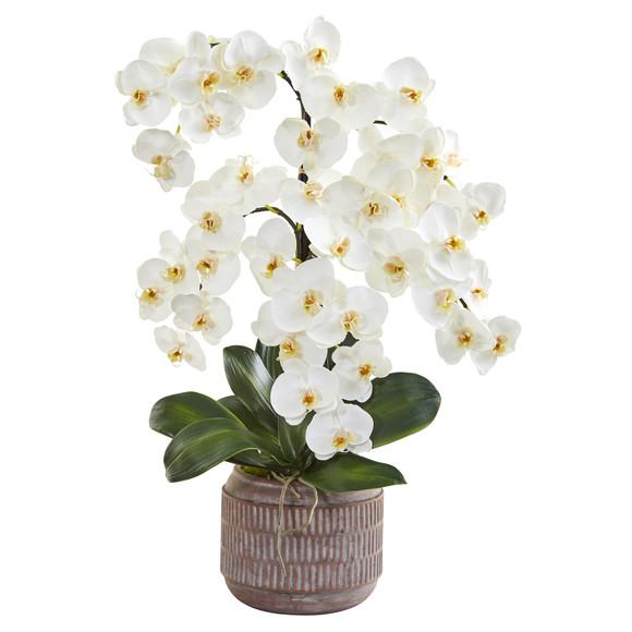 28 Phalaenopsis Orchid Artificial Arrangement in Stoneware Vase - SKU #A1360