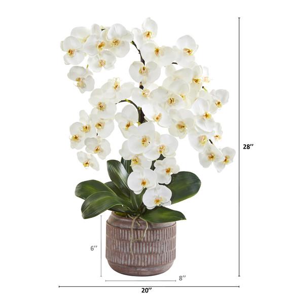 28 Phalaenopsis Orchid Artificial Arrangement in Stoneware Vase - SKU #A1360 - 1