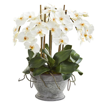 18 Phalaenopsis Orchid Artificial Arrangement in Vintage Bowl with Copper Trimming - SKU #A1361
