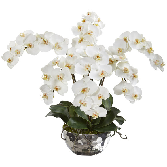 20 Phalaenopsis Orchid Artificial Arrangement in Silver Bowl - SKU #A1362