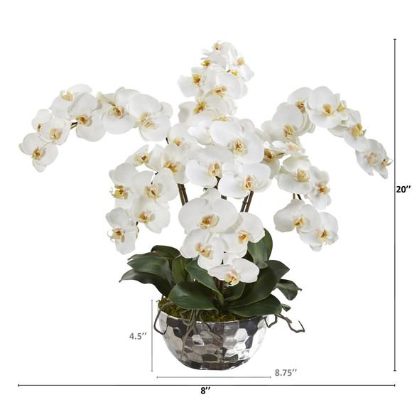 20 Phalaenopsis Orchid Artificial Arrangement in Silver Bowl - SKU #A1362 - 1