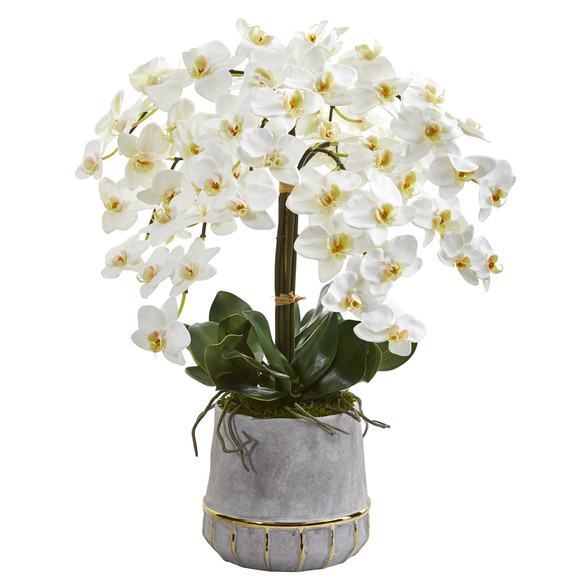 26 Phalaenopsis Orchid Artificial Arrangement in Stoneware Vase with Gold Trimming - SKU #A1364