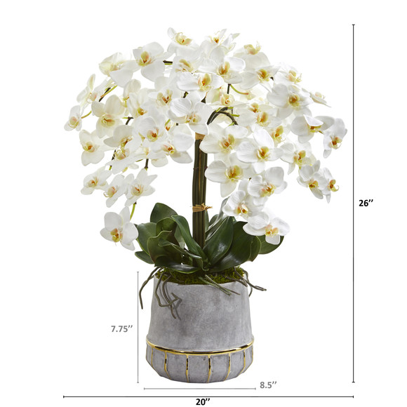 26 Phalaenopsis Orchid Artificial Arrangement in Stoneware Vase with Gold Trimming - SKU #A1364 - 1