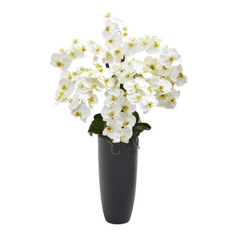 35 Phalaenopsis Orchid Artificial Arrangement in Gray Vase - SKU #A1365