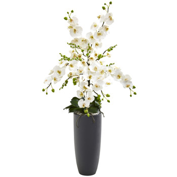 3 Phalaenopsis Orchid Artificial Arrangement in Gray Vase - SKU #A1366