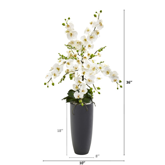 3 Phalaenopsis Orchid Artificial Arrangement in Gray Vase - SKU #A1366 - 1