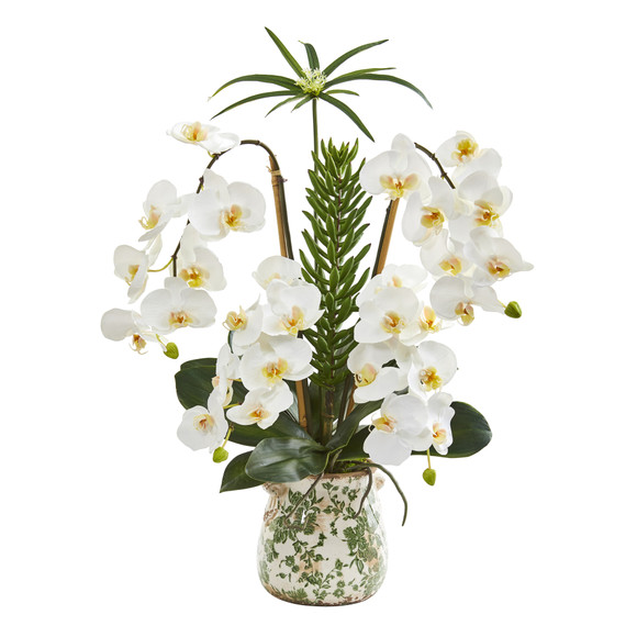 27 Phalaenopsis Orchid and Succulent Artificial Arrangement in Floral Vase - SKU #A1369