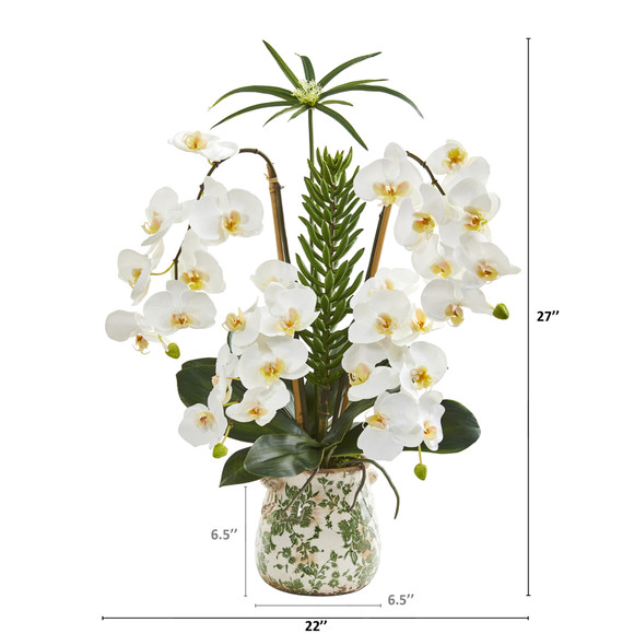 27 Phalaenopsis Orchid and Succulent Artificial Arrangement in Floral Vase - SKU #A1369 - 1