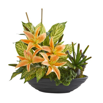 18 Lily Cactus and Musa Artificial Arrangement in Vase - SKU #A1370-OG