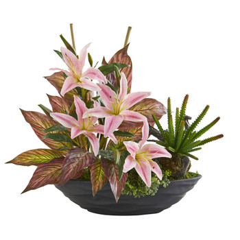 18 Lily Cactus and Musa Artificial Arrangement in Vase - SKU #A1370
