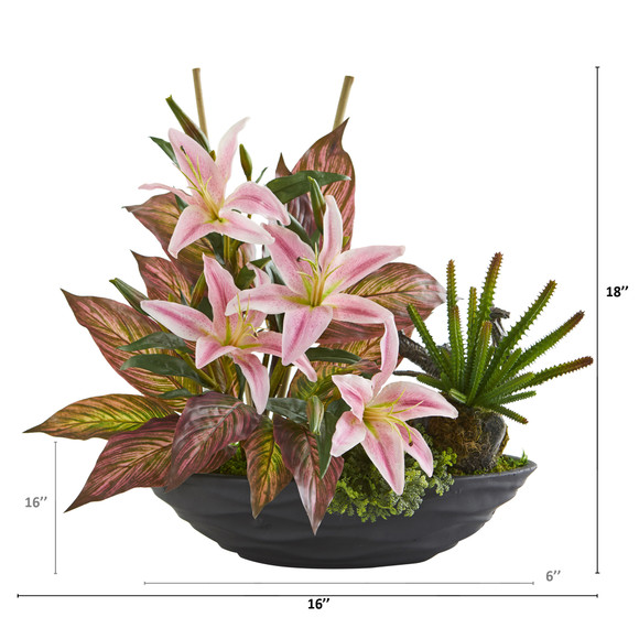 18 Lily Cactus and Musa Artificial Arrangement in Vase - SKU #A1370 - 1