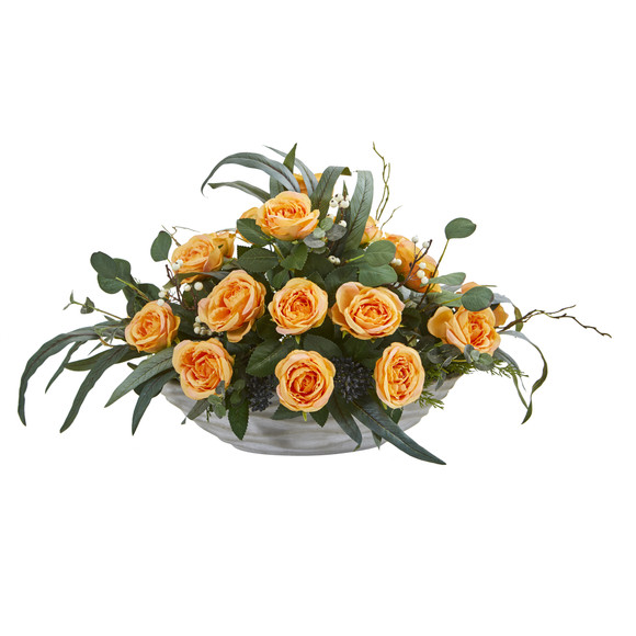 23 Rose and Eucalyptus Artificial Arrangement in Vase - SKU #A1371-YL