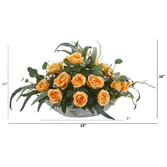 23 Rose and Eucalyptus Artificial Arrangement in Vase - SKU #A1371-YL - 1