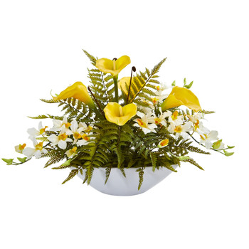 24 Calla Lilly Dendrobium Orchid and Fern Artificial Arrangement in White Vase - SKU #A1372