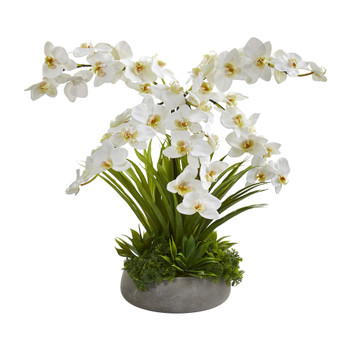 24 Phalaenopsis Orchid and Agave Artificial Arrangement in Gray Vase - SKU #A1373