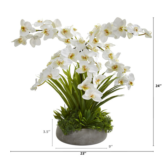 24 Phalaenopsis Orchid and Agave Artificial Arrangement in Gray Vase - SKU #A1373 - 1