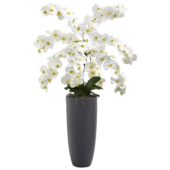 4 Phalaenopsis Orchid Artificial Arrangement in Gray Bullet Vase - SKU #A1374