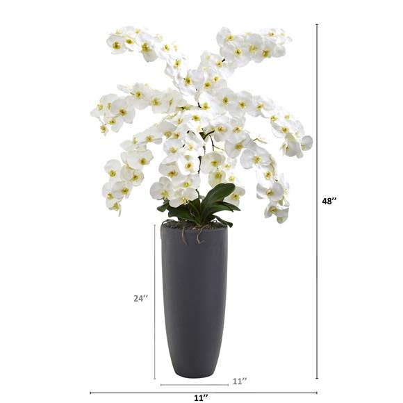 4 Phalaenopsis Orchid Artificial Arrangement in Gray Bullet Vase - SKU #A1374 - 1