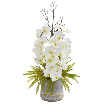 35 Phalaenopsis Orchid and Fern Artificial Arrangement in Stoneware Vase with Gold Trimming - SKU #A1375