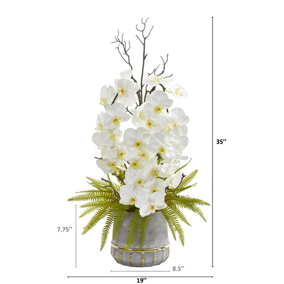 35 Phalaenopsis Orchid and Fern Artificial Arrangement in Stoneware Vase with Gold Trimming - SKU #A1375 - 1