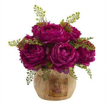 12 Peony Artificial Arrangement in Decorative Planter - SKU #A1376