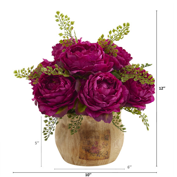 12 Peony Artificial Arrangement in Decorative Planter - SKU #A1376 - 1