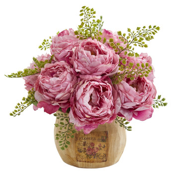 12 Peony Artificial Arrangement in Decorative Planter - SKU #A1376-PK