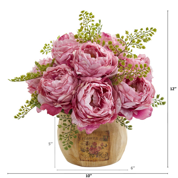 12 Peony Artificial Arrangement in Decorative Planter - SKU #A1376 - 3