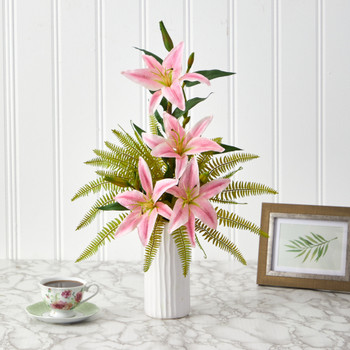 22 Lily and Fern Artificial Arrangement in White Vase - SKU #A1377-PK