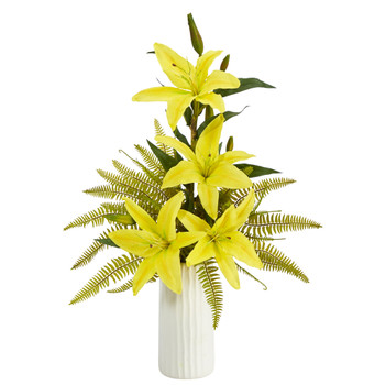 22 Lily and Fern Artificial Arrangement in White Vase - SKU #A1377