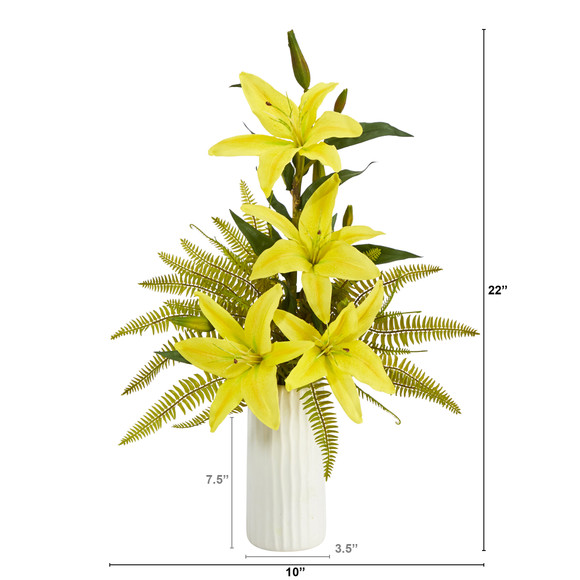 22 Lily and Fern Artificial Arrangement in White Vase - SKU #A1377 - 2