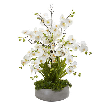 3 Phalaenopsis Orchid and Agave Artificial Arrangement in Gray Vase - SKU #A1378