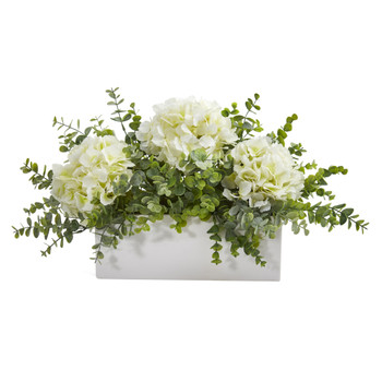 15 Hydrangea and Eucalyptus Artificial Arrangement in White Vase - SKU #A1381