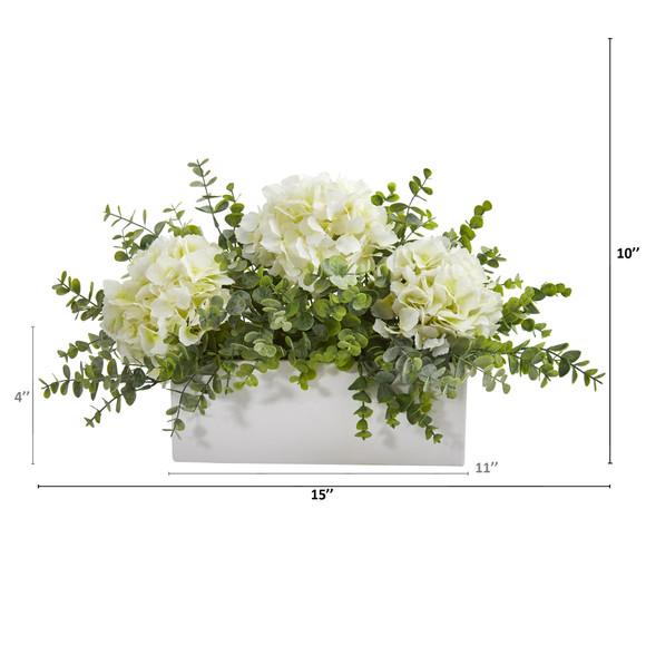 15 Hydrangea and Eucalyptus Artificial Arrangement in White Vase - SKU #A1381 - 1