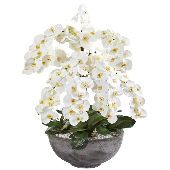 39 Phalaenopsis Orchid Artificial Arrangement in Large Cement Bowl - SKU #A1382