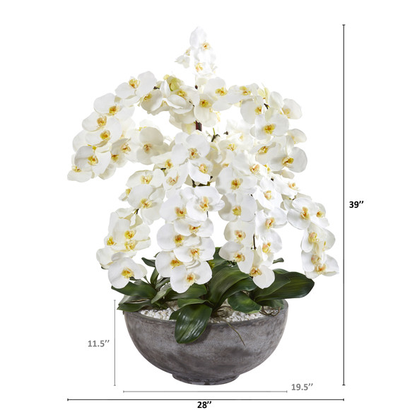 39 Phalaenopsis Orchid Artificial Arrangement in Large Cement Bowl - SKU #A1382 - 1